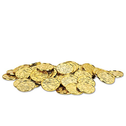 Plastic Coins (gold)    (100/Pkg) - Quarters Value Gold