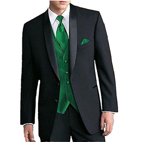 mys Men de Custom Made Groomsman Esmoquin Traje Negro Pantalones ...