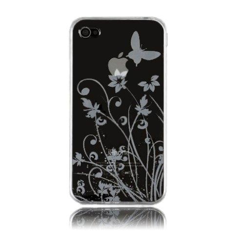 deinPhone - iPhone 4 4S Case Schutzhülle Schutz Handy Hülle Bumper Tasche Etui Schale Soft Case Flower in Weiß Transparent