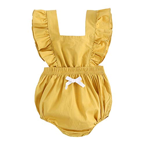 - BubbleColor Baby Girl Romper Ruffle Sleeve Jumpsuit Playsuit One Piece Cotton Bodysuit for Newborn Infant Toddler Outfit Princess Clothes (18-24 Months, Yellow)