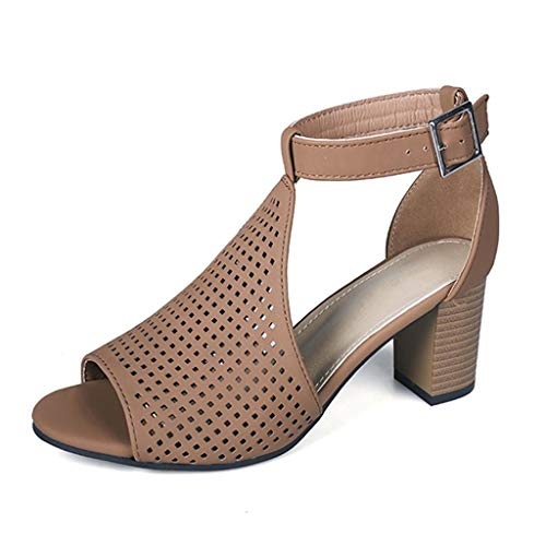 WKDYBD Women's Open Toe Chunky High Block Heel Pumps Ankle Boots Sandals Casual Shoes Brown