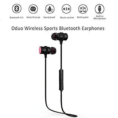 Vproof BT-576 Sport Bluetooth Earbuds With Earhook 4.1 Wireless Bluetooth Headphones Lightweight Noise Cancelling earphone Built-in Mic & HD Crystal Clear Sound Technology (Black)