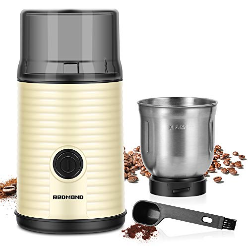 Electric Coffee Grinder, REDMOND Spices & Coffee Bean Dry Grinder with Stainless Steel 12-Cup Capacity Dry Grinding…