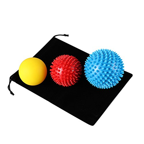 Aplay Massage Balls Set (3-Pack) - Hard & Soft Combo - Muscle,Hand,Back and Foot Massagers,Relieve Plantar Fasciitis Pain,Deep-Tissue Myofascial Release-Includes Bag
