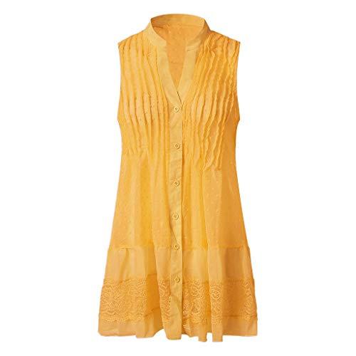 iLOOSKR Dress for Summer Women Plus Size The Fashion Summer V-Neck Sleeveless Dress Yellow -