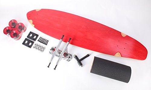 "40"" Red Kicktail Blank Clear Red wheels Complete Longboard Kit"
