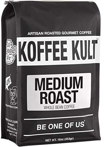 - Koffee Kult Medium Roast Coffee Beans, Highest Quality Delicious Coffee, Artisan Blend Freshly Roasted, Whole Bean, 16oz