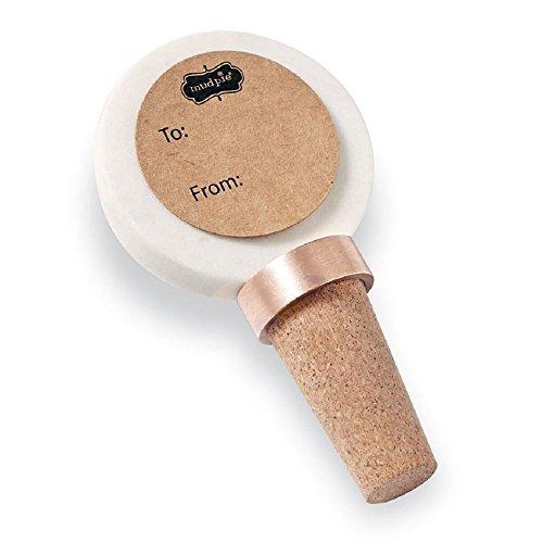 """Mud Pie Initial Copper Wine Bottle Topper, 3"""", L"""