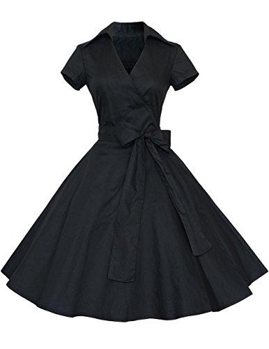発生万歳薬局Dresstell(ドレステル) レディーズ エレガント Vネック ベルト付け 半袖 水玉柄 Aラインのスカート フォーマルドレス お呼ばれ 結婚式ドレス