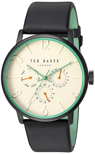 Ted Baker Men's 'James' Quartz Stainless Steel Case Genuine Leather Band Dress Watch, Color: Black (Model: 10031566)