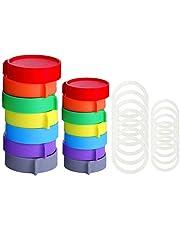 Elwiya Leak Proof Plastic Mason Jar Lids for Wide Mouth & Regular Mouth - Reusable Plastic Storage Caps/Tops for Ball Jar Lids, Pack of 14