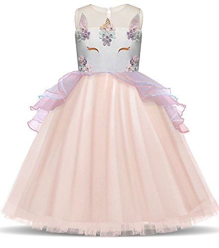 Prom Aurora Gown (KINDER365 Unicorn Costume Cosplay Party Dresses Flower Evening Gowns Tutu Princess Dress)