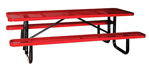 8' Rectangular Picnic Table, Expanded Metal, Red (96