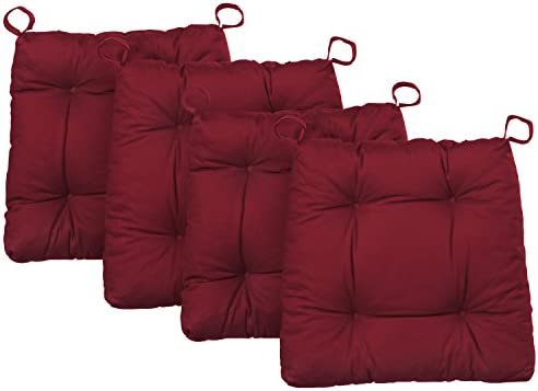 Traumnacht Sueño Noche Silla Cojín Premium Juego de 4, algodón, Rojo, 38 x 40 x 7 cm, 4 Unidades de Medida
