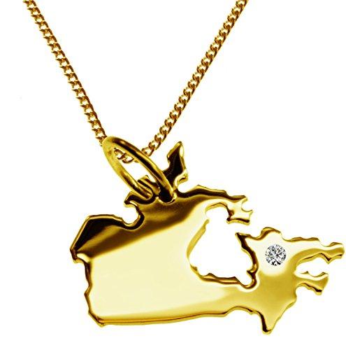 Endroit Exclusif le Canada Carte Pendentif avec brillant à votre Désir (Position au choix.)-avec Chaîne-massif Or jaune de 585or, artisanat Allemande-585de bijoux