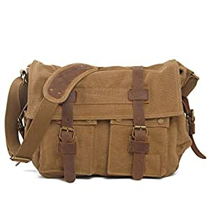 Vintage School Large Long Strapped Canvas Outdoor Satchel for Men Fashion Travel (Color : Brown, Size : S)