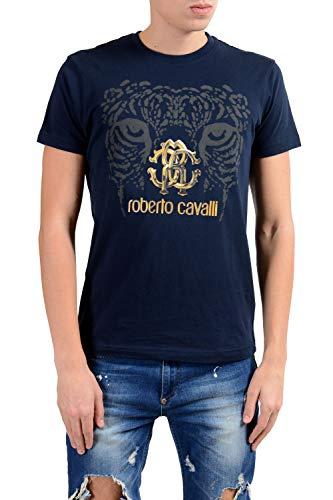 ROBERTO CAVALLI Men's Navy Blue Graphic Crewneck T-Shirt Size US S IT ()