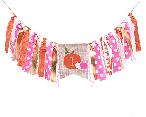Pumpkin Banner For 1st Birthday - First Birthday Decorations For Photo Booth Props, Pumpkin Decor For Baby Girl, Best Party Supplies
