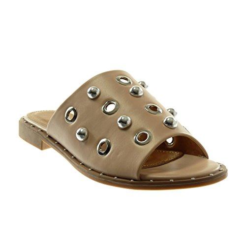 Angkorly Damen Schuhe Sandalen Mule - Slip-on - Perle - Nieten - Besetzt - Perforiert Blockabsatz 2 cm Beige
