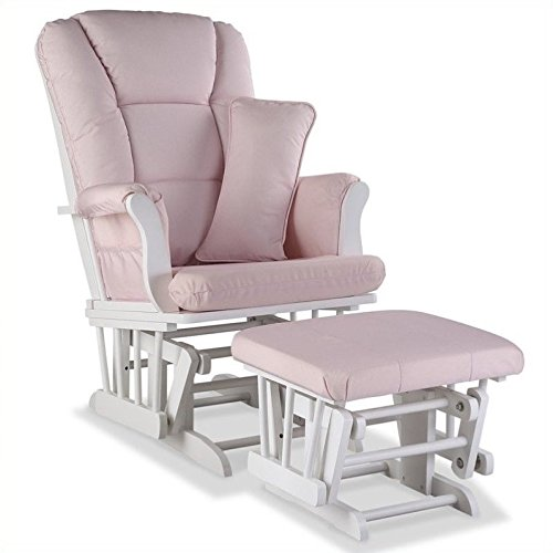 Stork Craft Tuscany Custom Glider and Ottoman with Free Lumbar Pillow, White/Pink Blush Swirl - Free Nursing Pillow Pattern