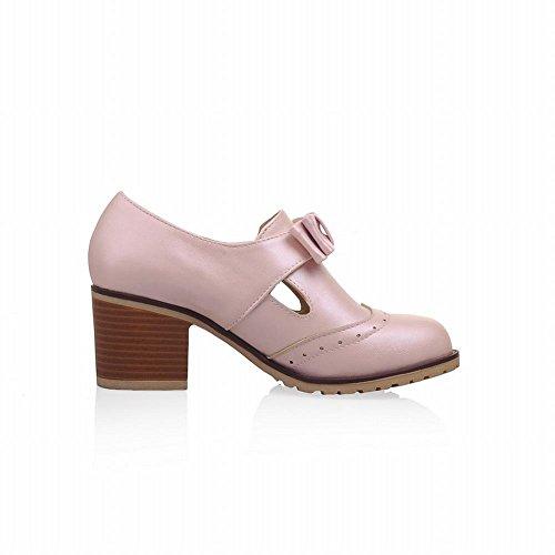 Latasa Mujeres Cute Bow Mid Chunky Heel Comfort Slip En Los Zapatos Pink