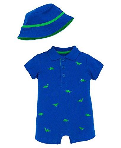 Shortalls Shirt (Little Me Boys Dino One Piece Romper and Sun Hat - Blue - 6 Months)