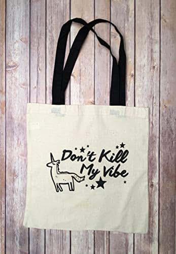 Funny Dont Kill My Vibe Unicorn Black Canvas Messenger Bag