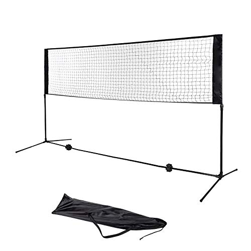 Nylon Tennis Nets - AJO Adjustable Foldable Portable Recreational Volleyball Badminton Tennis Net Set - Easy Setup Nylon Sports Net with Poles,for Indoor or Outdoor Court,Beach,Backyard (10 FT)