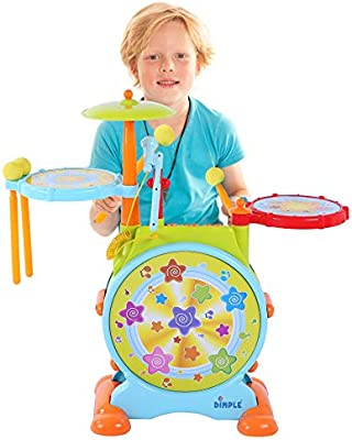 Kids Drum Kit Toddler First Electric Set Children Musical Toy Activities Gift