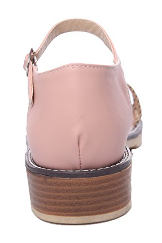 Open Pu Women's Sandals Buckle Pink Toe Heels WeiPoot Low Solid dq7vWPPYw