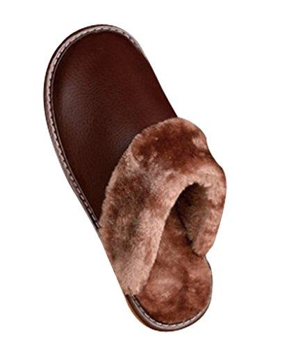 Cattior Heren Massief Bont Gevoerd Warme Comfortabele Pu Lederen Slippers Zachte Pantoffels Lichtbruin
