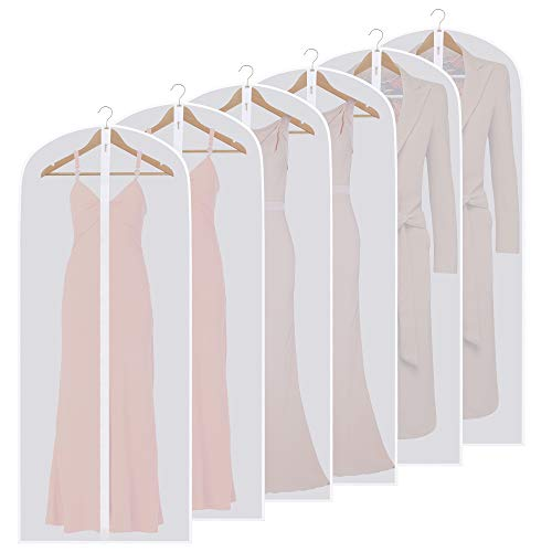 SKYUGLE Clear Garment Bags for Long Dresses 24'' x 60'' Dress Cover Bag for Dance Costumes Gown Suit Coat Clothes, Prevent Dust, Breathable Washable Garment Cover And Foldable Hanger 6 Pack