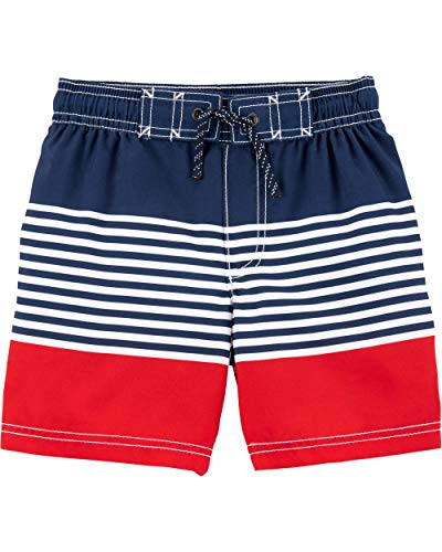 Carter's Toddler Boys' Swim Trunk, Red/Blue Stripe, 2T (Boy Swimsuit Toddler)