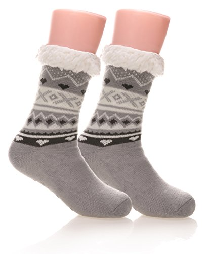 Women's Soft Warm Cozy Fuzzy Fleece-lined Non-skid Christmas Winter Slipper socks (Gray) (Stockings Lined Plus Size)