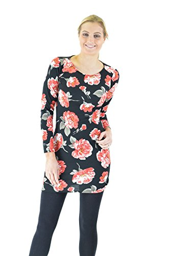 Women Ladies Floral Fitted Stretch Bodycon Tunic Dress Top