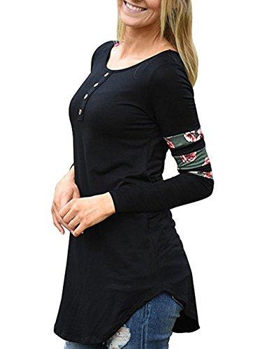 A Maglietta Camicie Camicetta Maglie Fräulein Tops Floreali Moda Estivo Shirts Collo Cucitura Donna Sottile Casual Fox Lungo Rotondo Manica Lunga vqO16