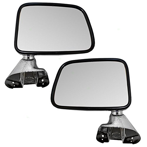 Driver and Passenger Manual Side View Mirror Chrome Door Mounted Replacement for Toyota SUV Pickup Truck 8794089134 8791089136 (Manual Mounted Drivers Door Mirror)