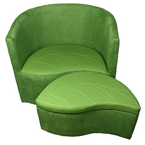 ORE International HB4481 29-Inch Suede Accent Chair with Storage Ottoman, Armless, Green
