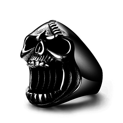 LAOYOU Skull Rings Gothic Biker Punk Black Surgical Stainless Steel Mens Ring Beer Bottle Opener for Men Boy Father Dad Son Boyfriend Husband Hip Hop Gifts Jewelry Birthday Christmas Size 7