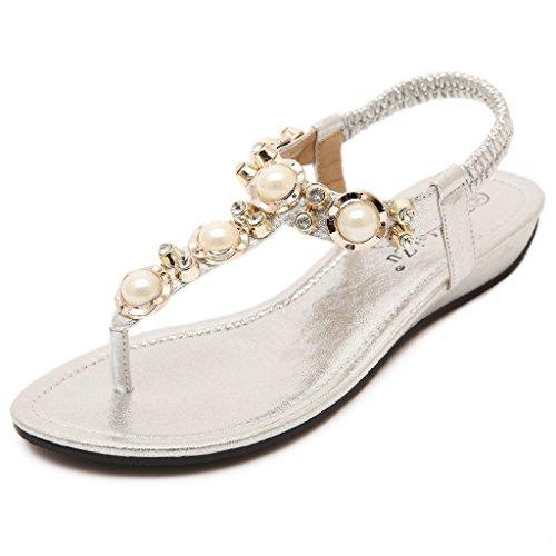 Minetom Mujer Sandalias Bohemio Estilo Peep Toe Zapatos Nuevo Verano Playa Sandalias Plateado