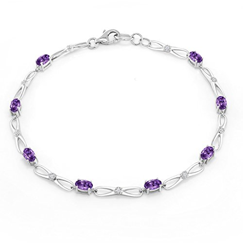 10K White Gold Oval Purple Amethyst White Diamond Bracelet 1.66 Ct 7.5