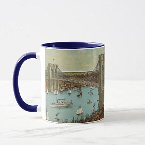 (Zazzle Brooklyn Bridge Color Postcard Mug Navy Blue Combo Mug, 11)