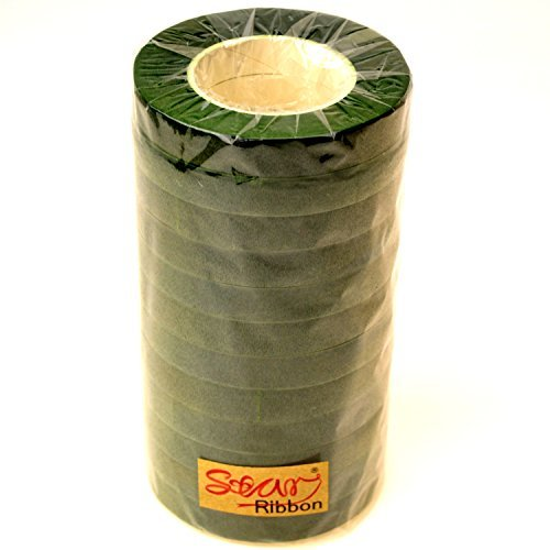 12 Rolls 1/2 Inch Wide Floral Tape Super Stretchy for Bouquest Stem and Craft items 16 Colors Available (Dark Hunter Green)
