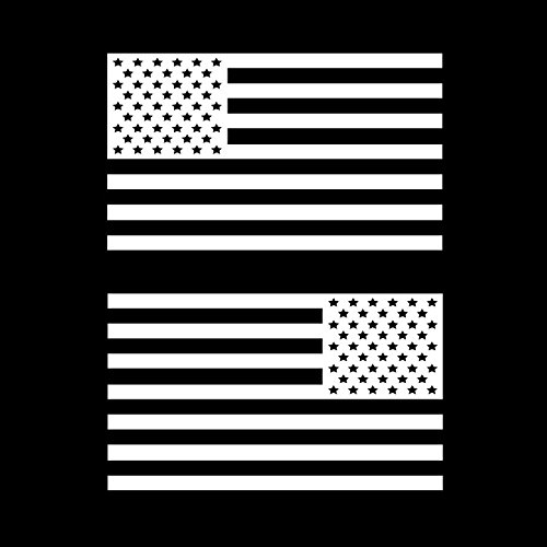 USA Subdued Single Color American Flag 50 Stars 2 Vinyl Die-Cut Decals - Includes Standard and Reversed Designs - Medium - White