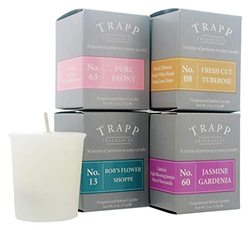 Trapp Signature Home Collection Floral Favorites Variety 2oz Votives Scented Candle, Set of 4