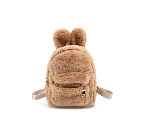 Rainie002 2019 Daily Women Backpack For School Teenager Girls Boys Rabbit Ear Solid Color Travel Backpacks Bags S,D Brown,21X17X12 Cm (Best Golf Swing Training Aids 2019)