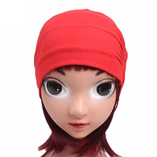 FEITONG Children Baby Girls Cotton Hat Beanie Scarf Turban Head Wrap Cap 3-8 years (Red) by FEITONG (Image #4)