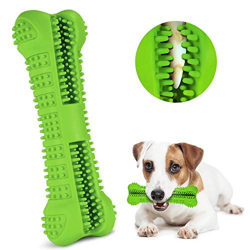 FULNEW Dog Toothbrush Chew Toys Dog Teeth Cleaning Puppy Dental Care Brushing Stick Silicone Dog Chew Bones Bite Resistant for Dogs Oral Care