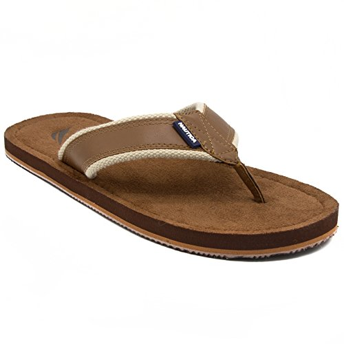 - Nautica Men's Tayrona Flip Flop, Rustic Style Fabric Lined, Beach Sandal-Ginger Smooth-9