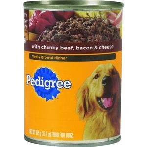 Pedigree Chunky Ground Dinner Wet Dog Food – Beef, Bacon & Cheese – 13.2 oz. 12pk – Beef, Bacon & Cheese – 13.2 oz